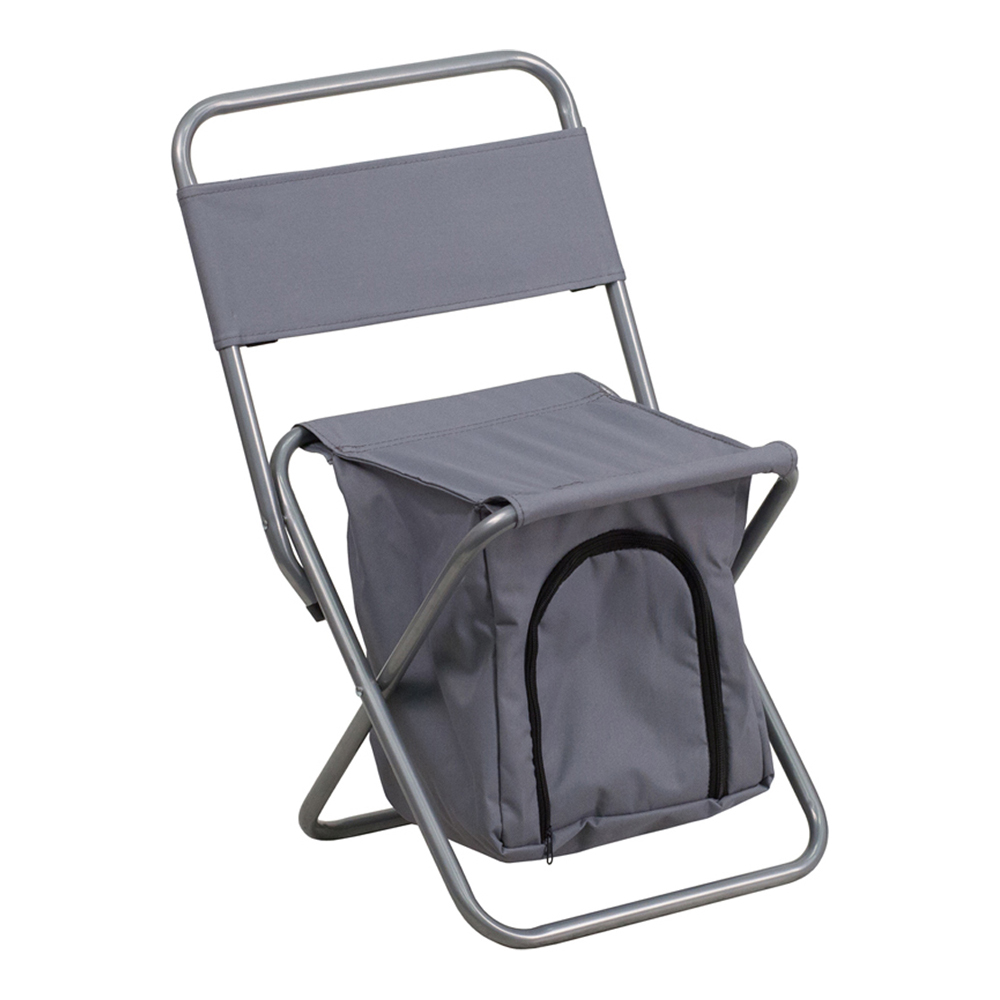 Offex Folding Camping Chair with Insulated Storage in Gray