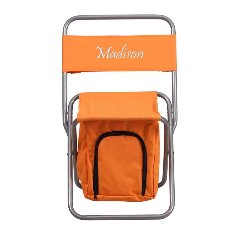 Offex Embroidered Folding Camping Chair with Insulated Storage in Orange