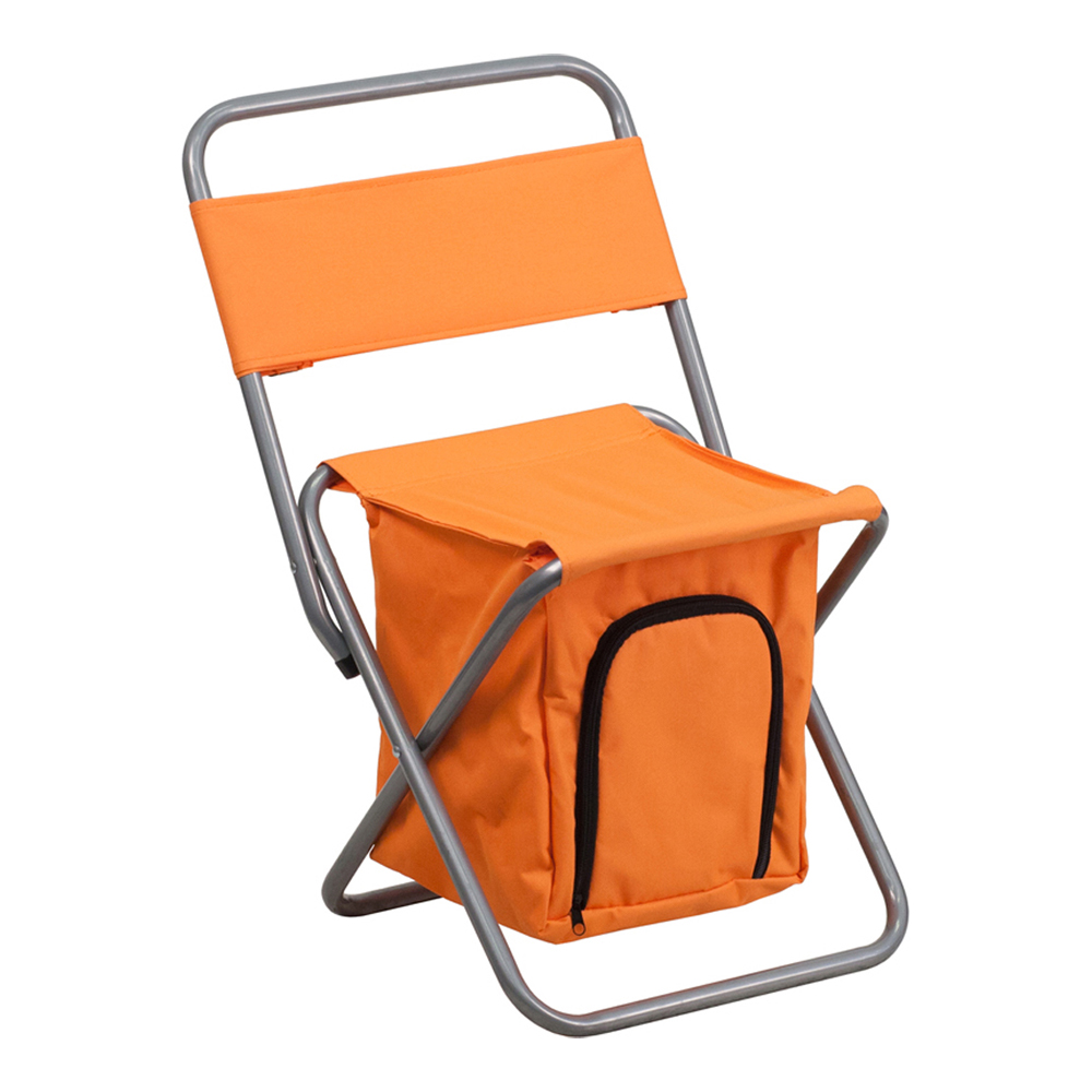 Offex Folding Camping Chair with Insulated Storage in Orange