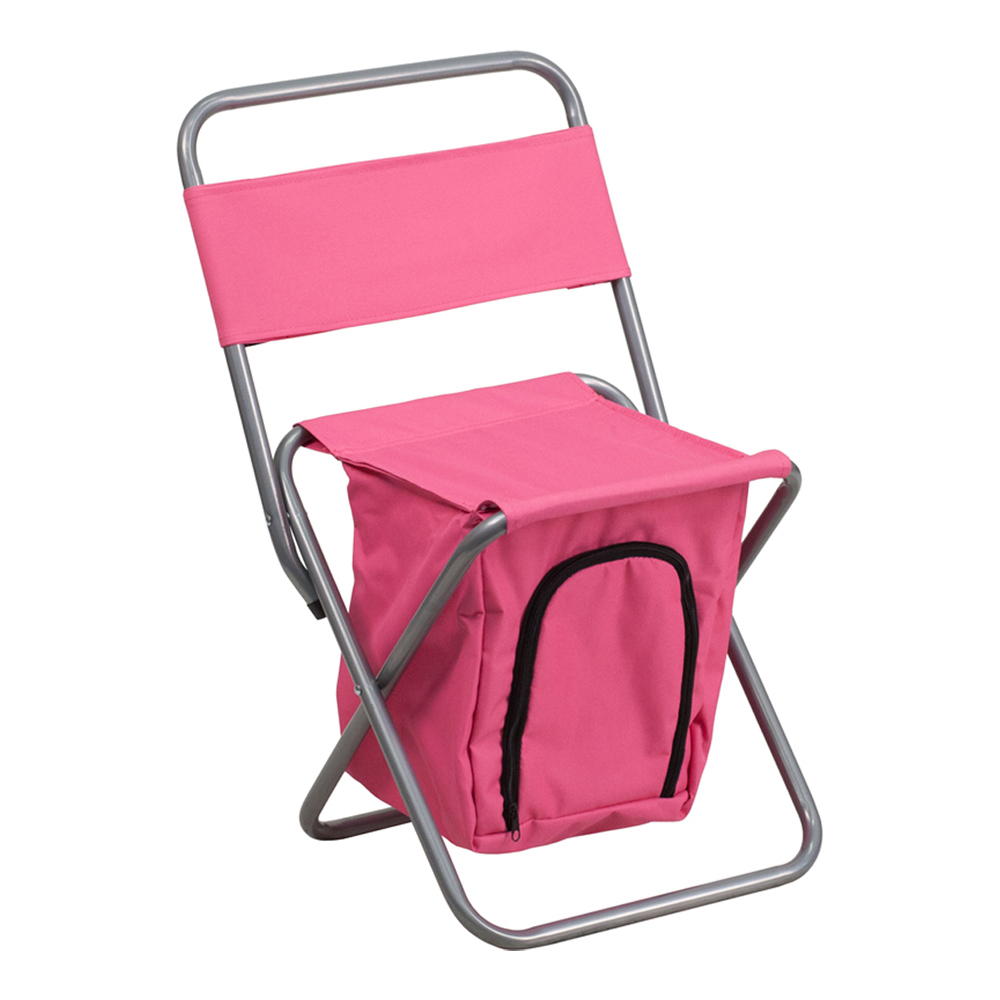 Offex Folding Camping Chair with Insulated Storage in Pink