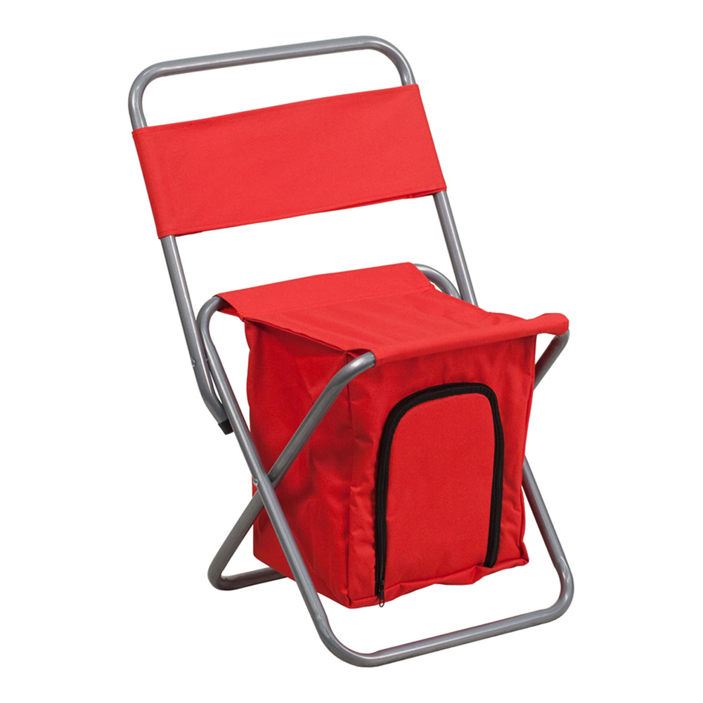 Offex Folding Camping Chair with Insulated Storage in Red