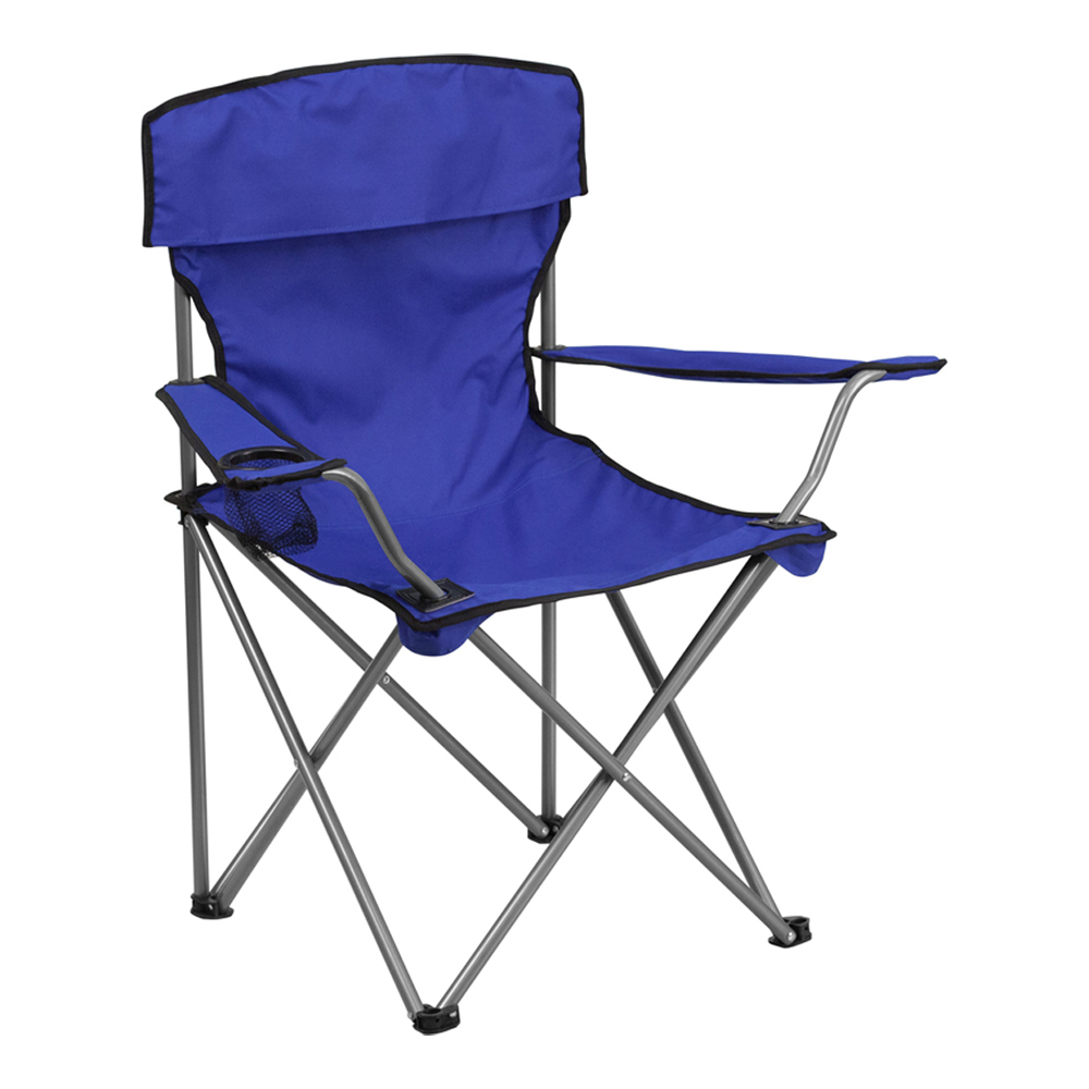 Offex Folding Camping Chair with Drink Holder in Blue