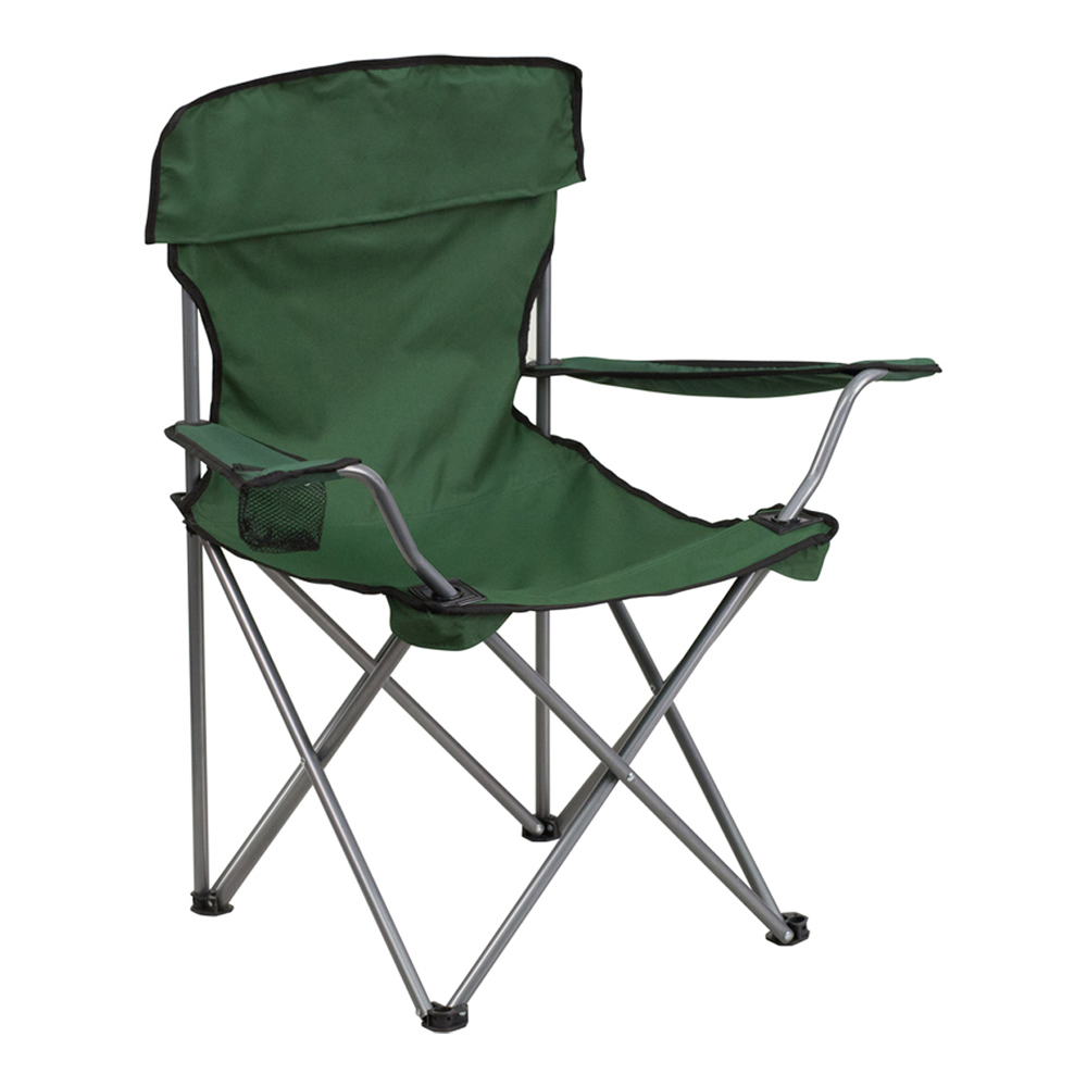 Offex Folding Camping Chair with Drink Holder in Green