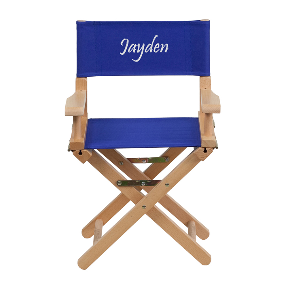 Offex Embroidered Kid Size Directors Chair in Blue