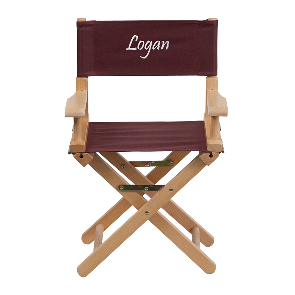 Offex Embroidered Kid Size Directors Chair in Brown