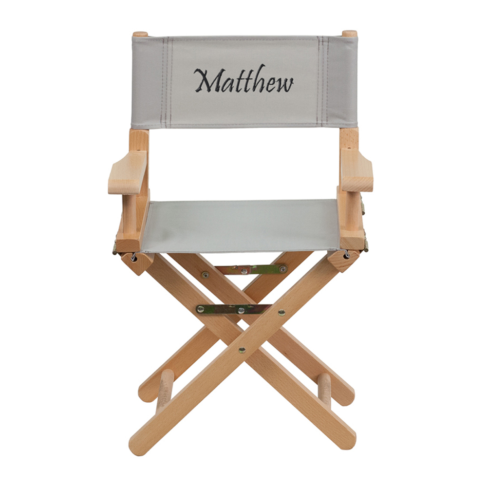 Offex Embroidered Kid Size Directors Chair in Gray