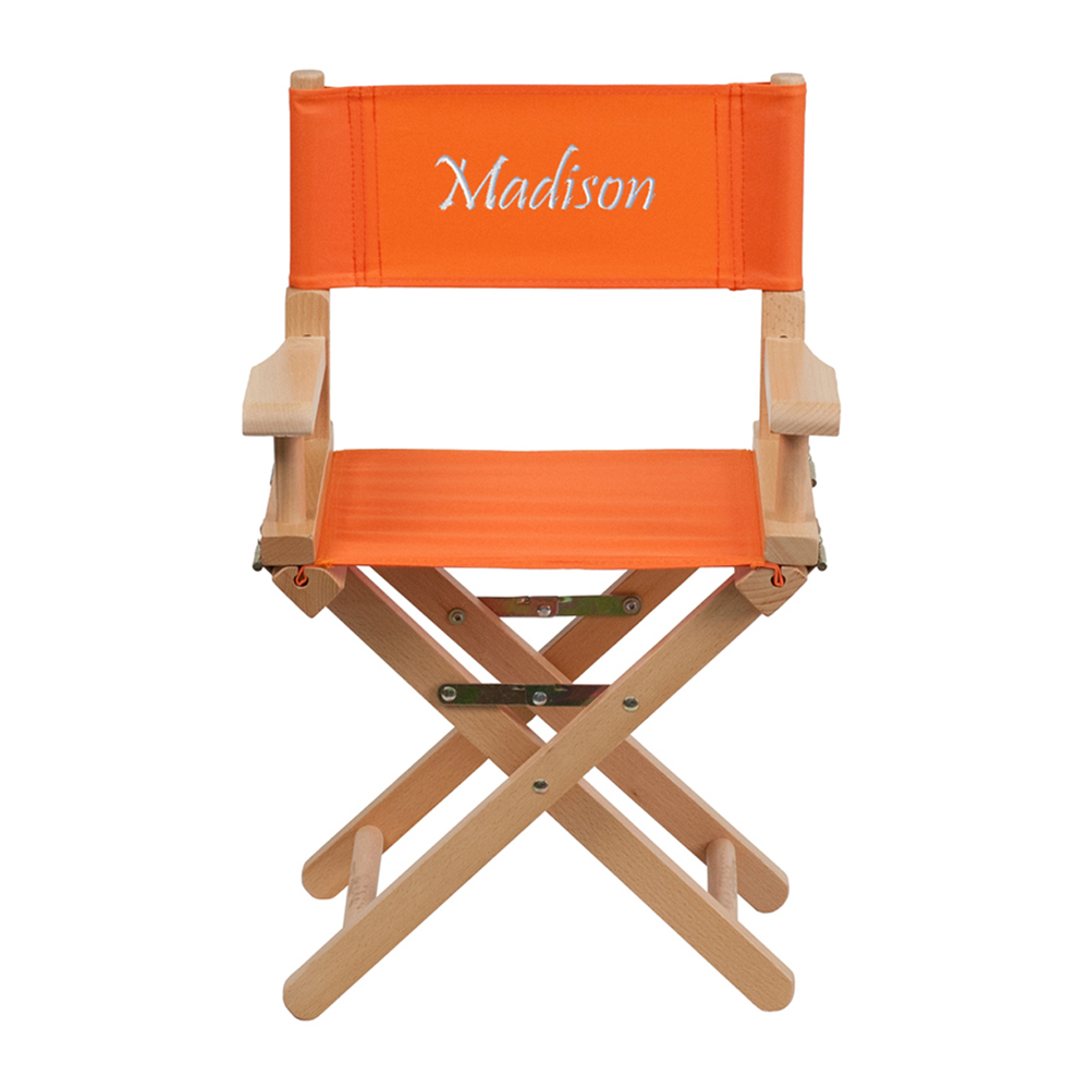 Offex Embroidered Kid Size Directors Chair in Orange