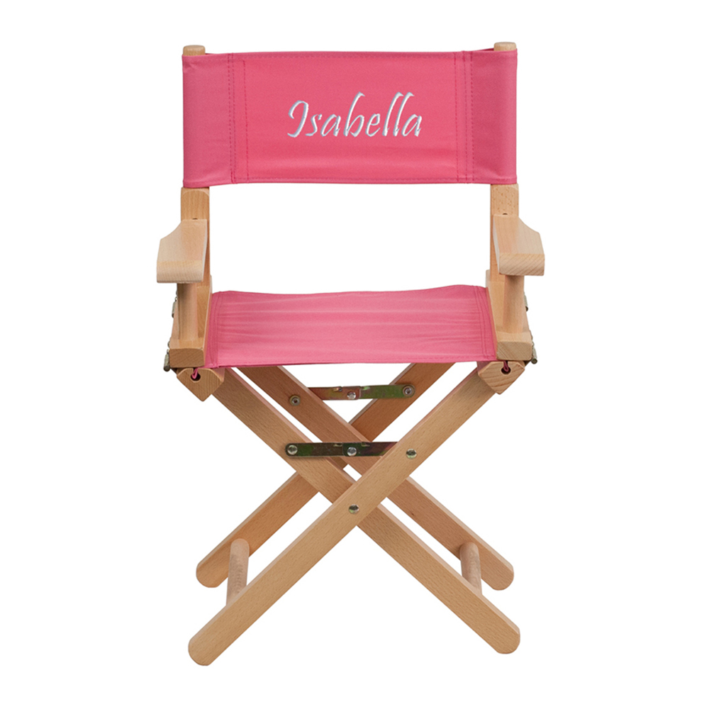 Offex Embroidered Kid Size Directors Chair in Pink