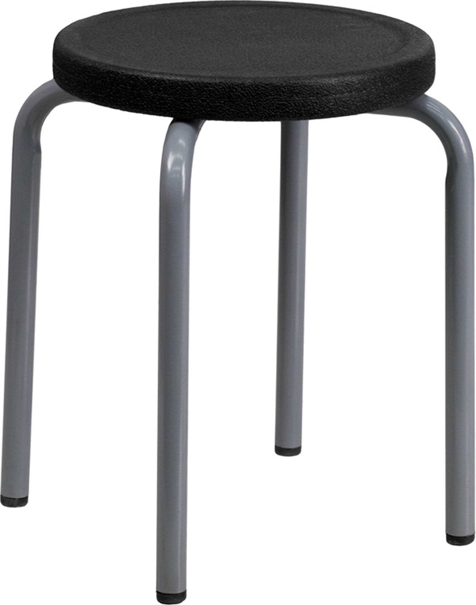 Offex YK01B-GG Stackable Stool with Black Seat and Silver Powder Coated Frame