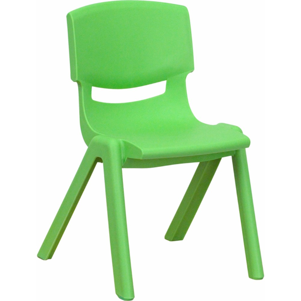 Offex Green Plastic Stackable School Chair with 12' Seat Height
