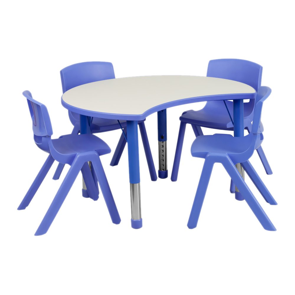 Flash Furniture 25125''W x 355''L Height Adjustable Cutout Circle Blue Plastic Activity Table Set with 4 School Stack Chairs at Sears.com