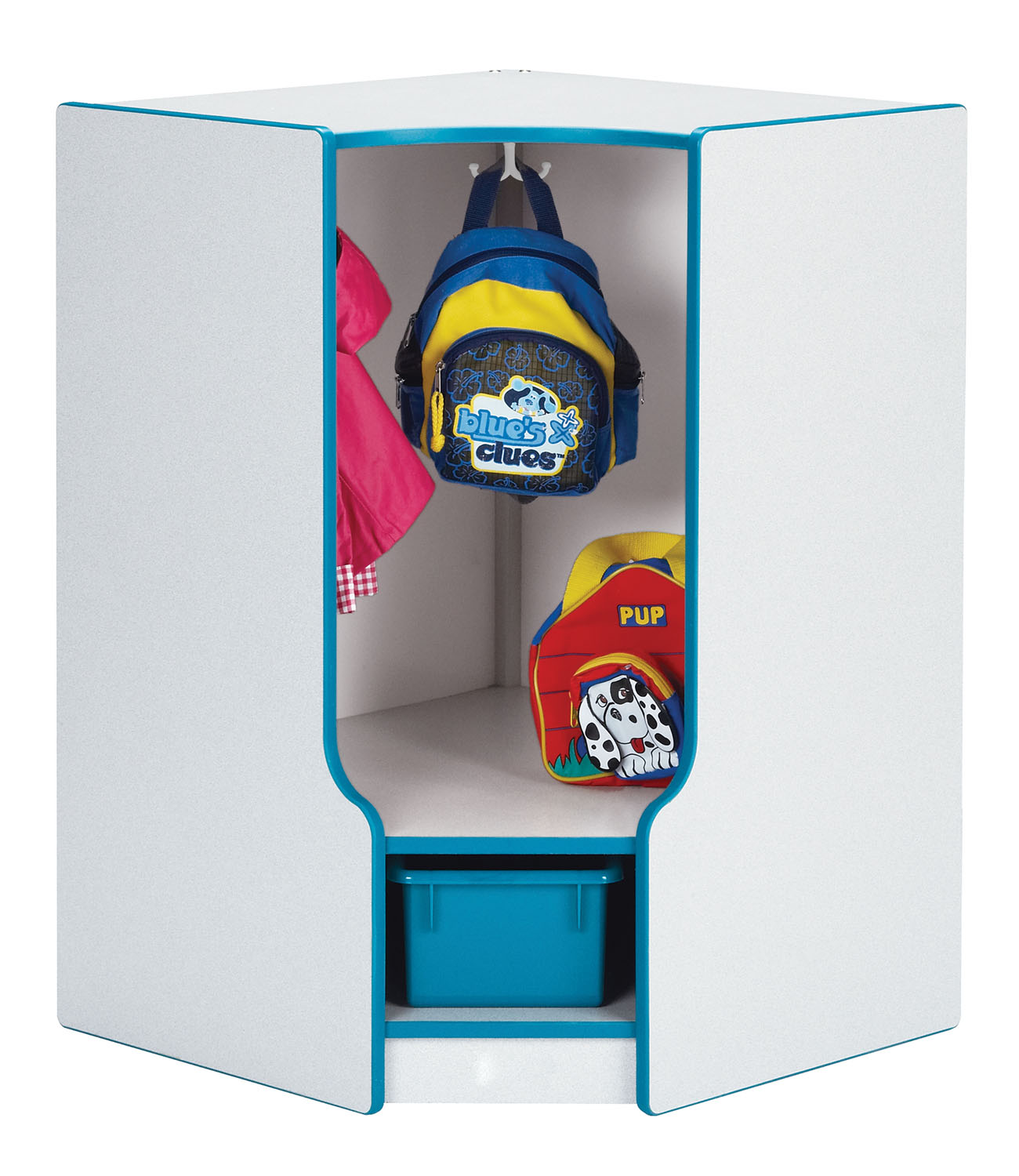 Offex Entryway Storage Toddler Corner Coat Locker with Step - without Trays - Orange