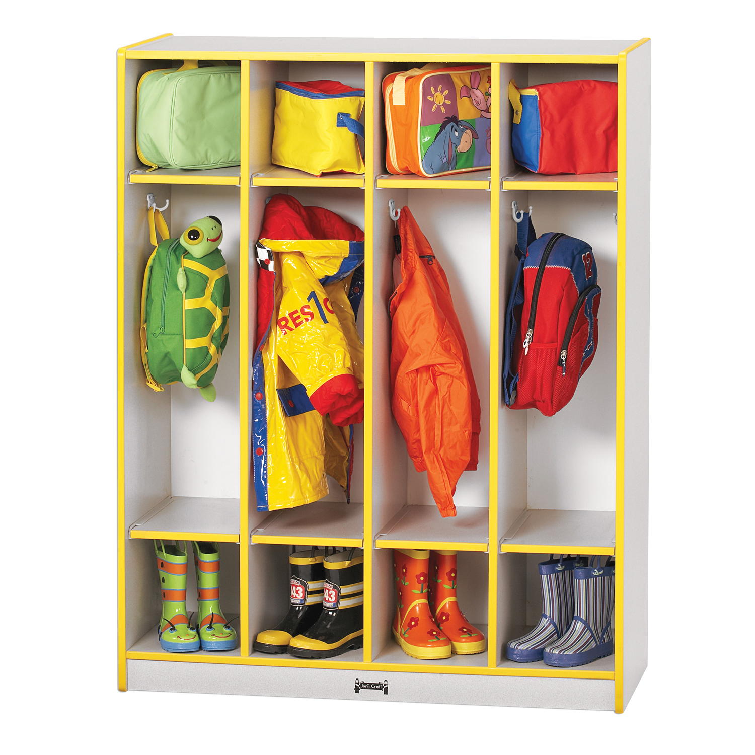 Offex School Kids Belonging Storage 4 Section Coat Locker - Red