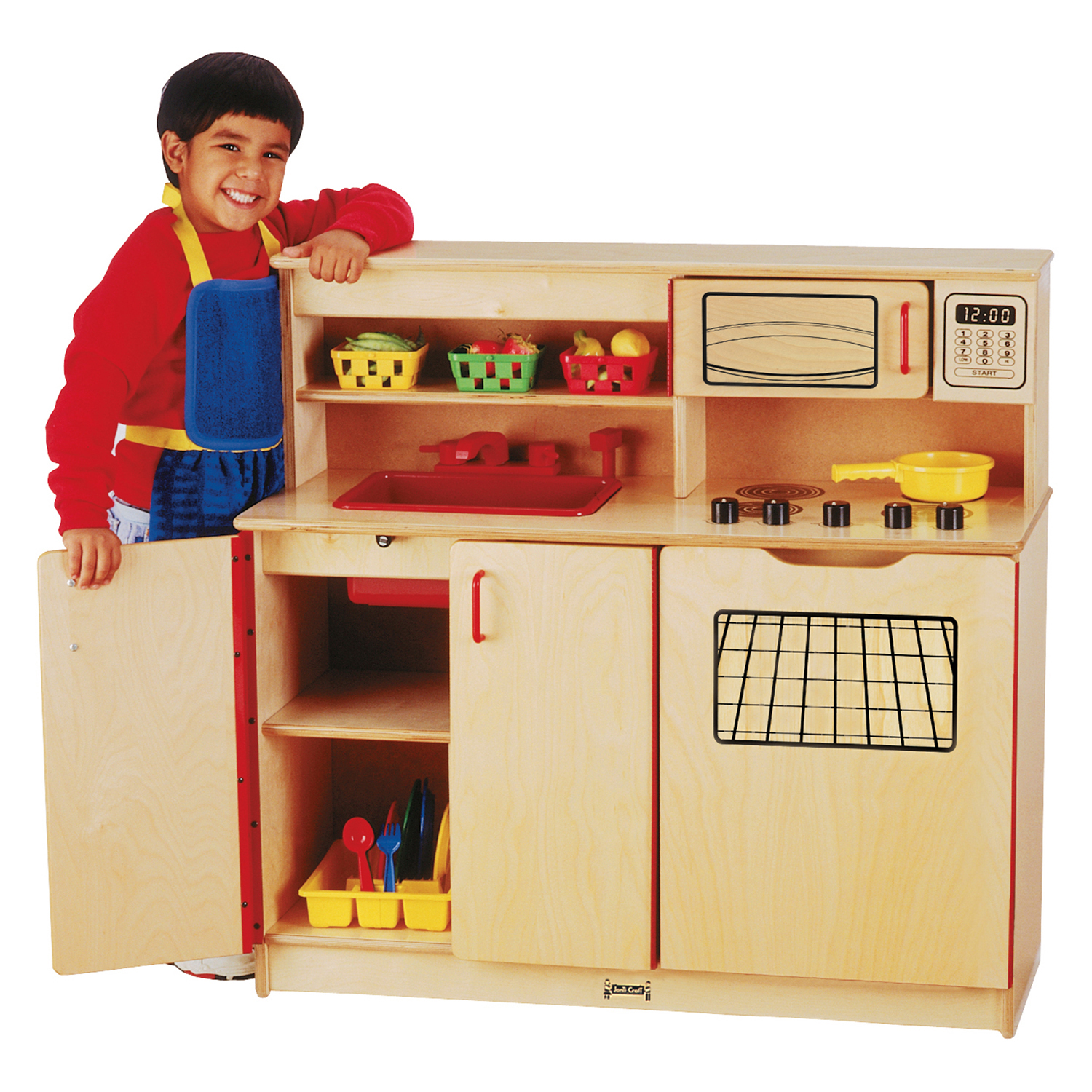 Jonti-Craft Preschool Kids Pretend Play Room Wooden 4-In-1 Toy Cooking Kitchen Activity Center at Sears.com