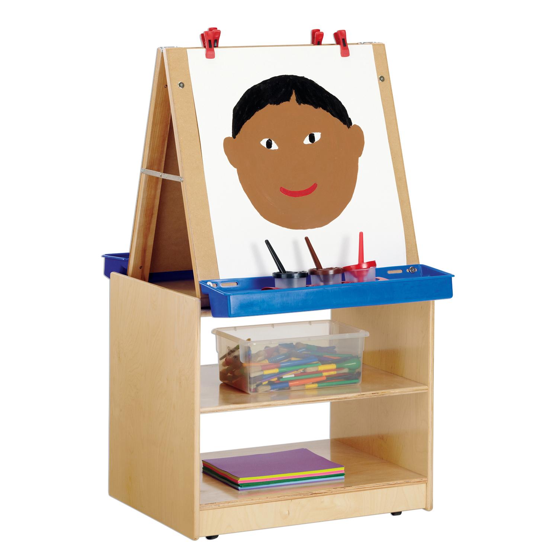 kids painting foldable write n wipe 2 station art easel center cabinet storage ebay. Black Bedroom Furniture Sets. Home Design Ideas