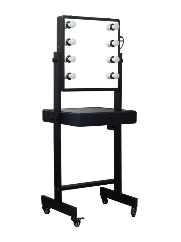 Black Double Full Mirrored Vanity Table 4 Wheels LED Lights Drawers C