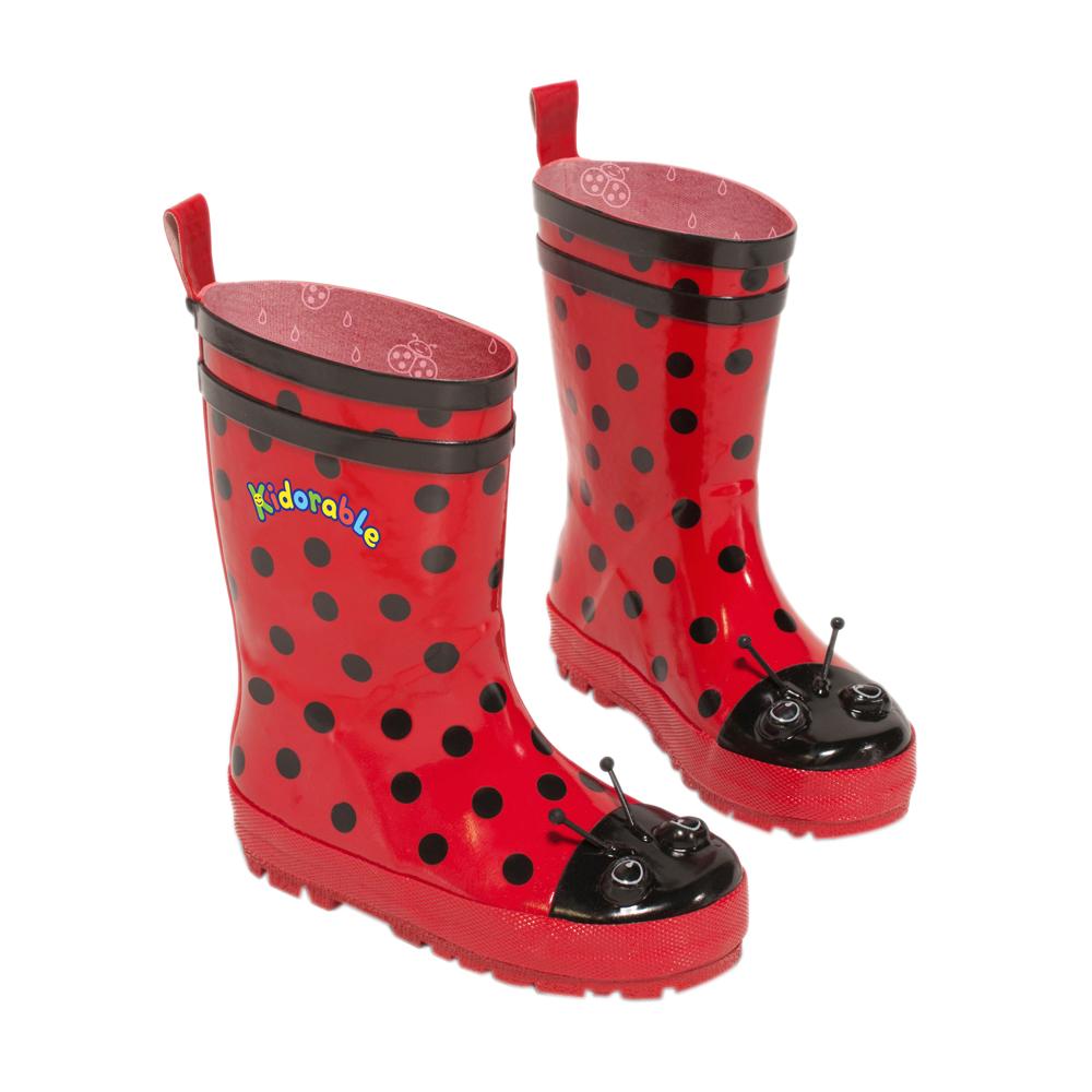 Kidorable Kidorable Kids Children Indoor Outdoor Play Rubber Red Ladybug Rain Boots Size 2