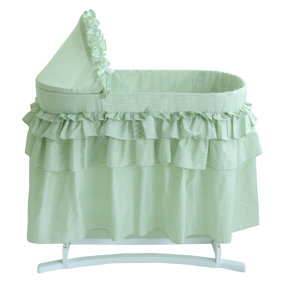 Lamont home newborn good night baby bassinet with gingham for Baby bassinet