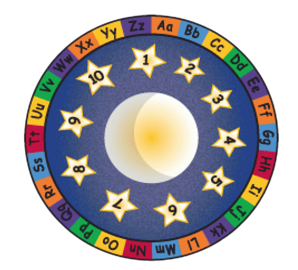 """Learning Carpets Indoor Outdoor Children Playtime Rug Moon and Stars - CPR524 Round 6'6"""" at Sears.com"""