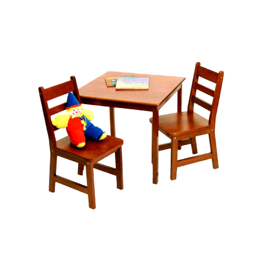 Lipper International Childrens Cherry Finish Square Table & Two Chair Set
