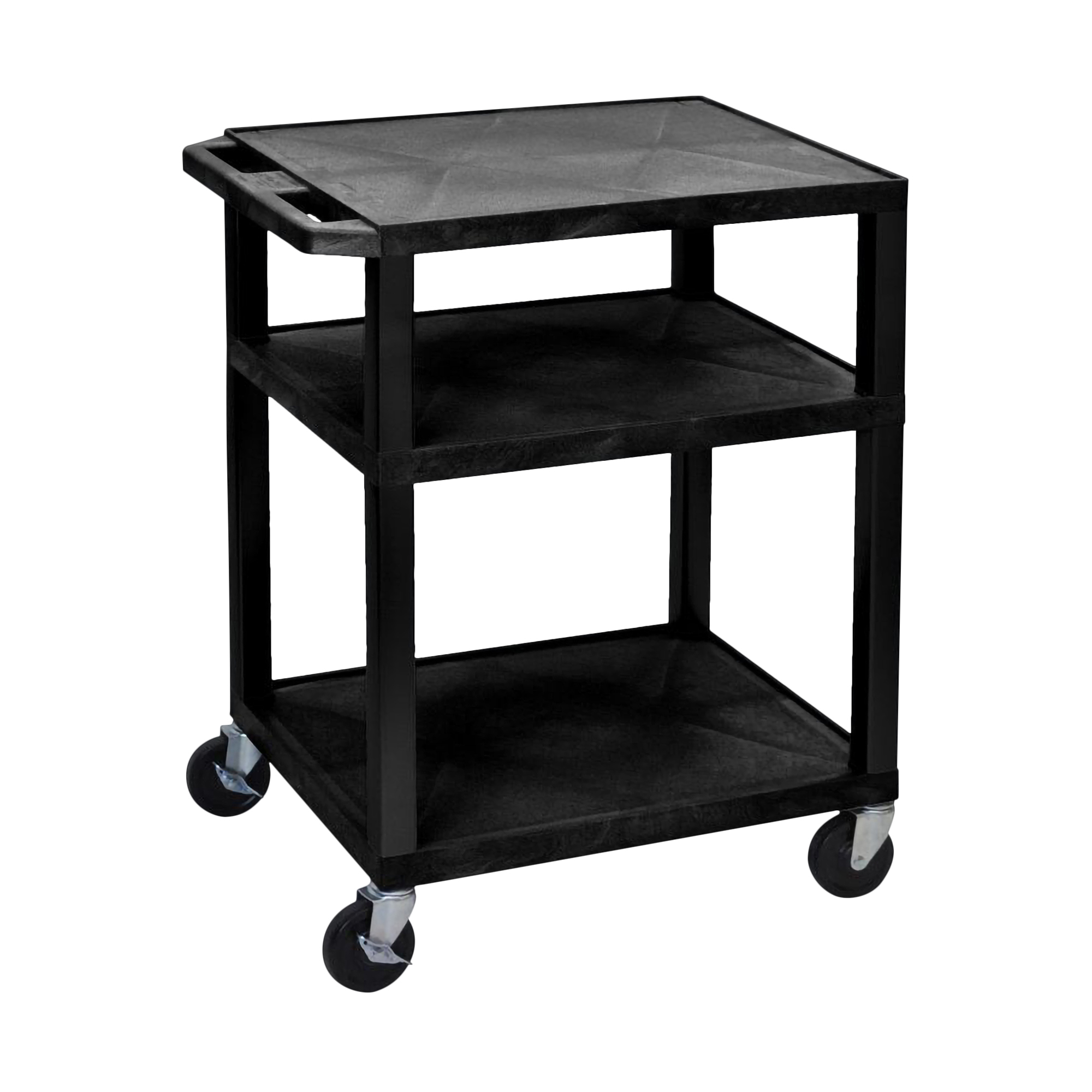 Luxor Mobile Black Multi-Purpose 3 Shelf Tuffy AV Cart With Putty Legs, Electric And Heavy Duty Casters at Sears.com