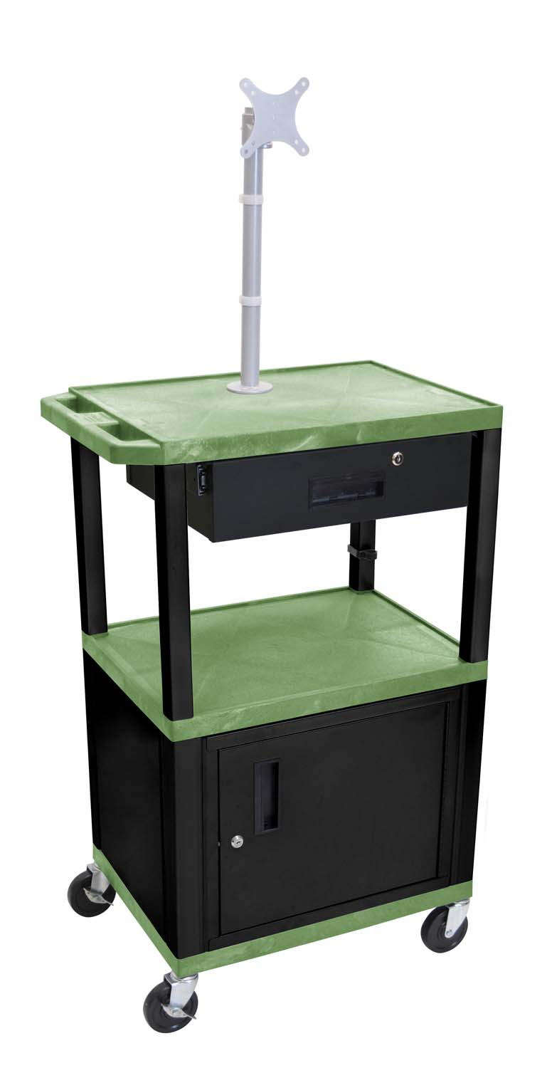 Luxor Mobile Multipurpose Electric Tuffy Cart With Cabinet 3 Plastic Shelves Black Legs With Storage Drawer And Mount Green at Sears.com