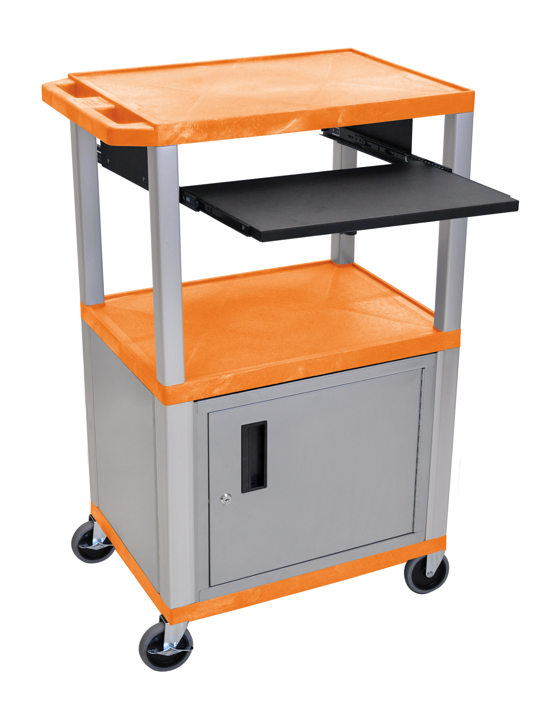 H.Wilson H. Wilson Presentation Cart With Cabinet and Pull Out Tray Orange and Nickel at Sears.com