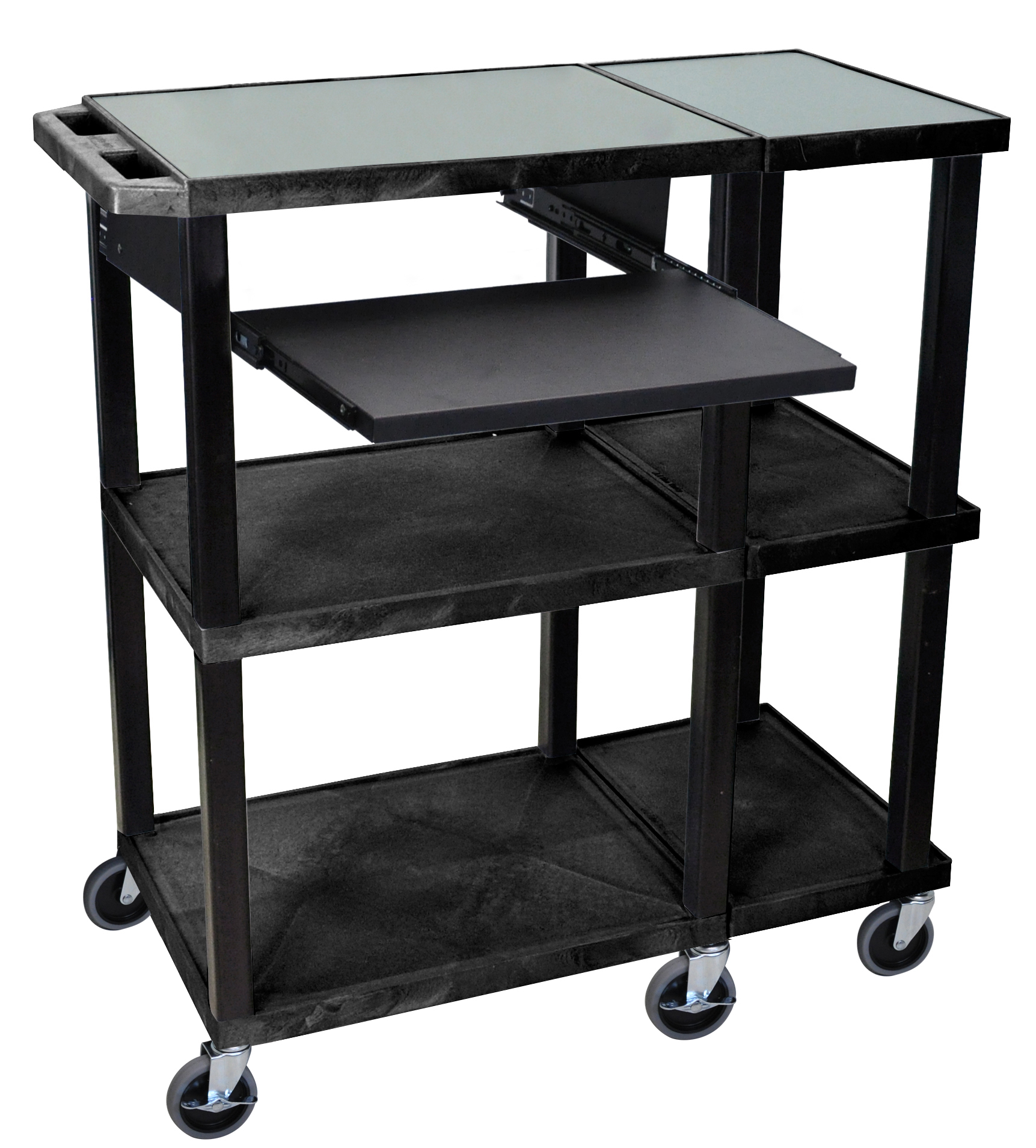 H.Wilson Home Office Mobile Computer WorkStation Rolling Organizer Cart Presentation Station With Pull Out Tray Black at Sears.com