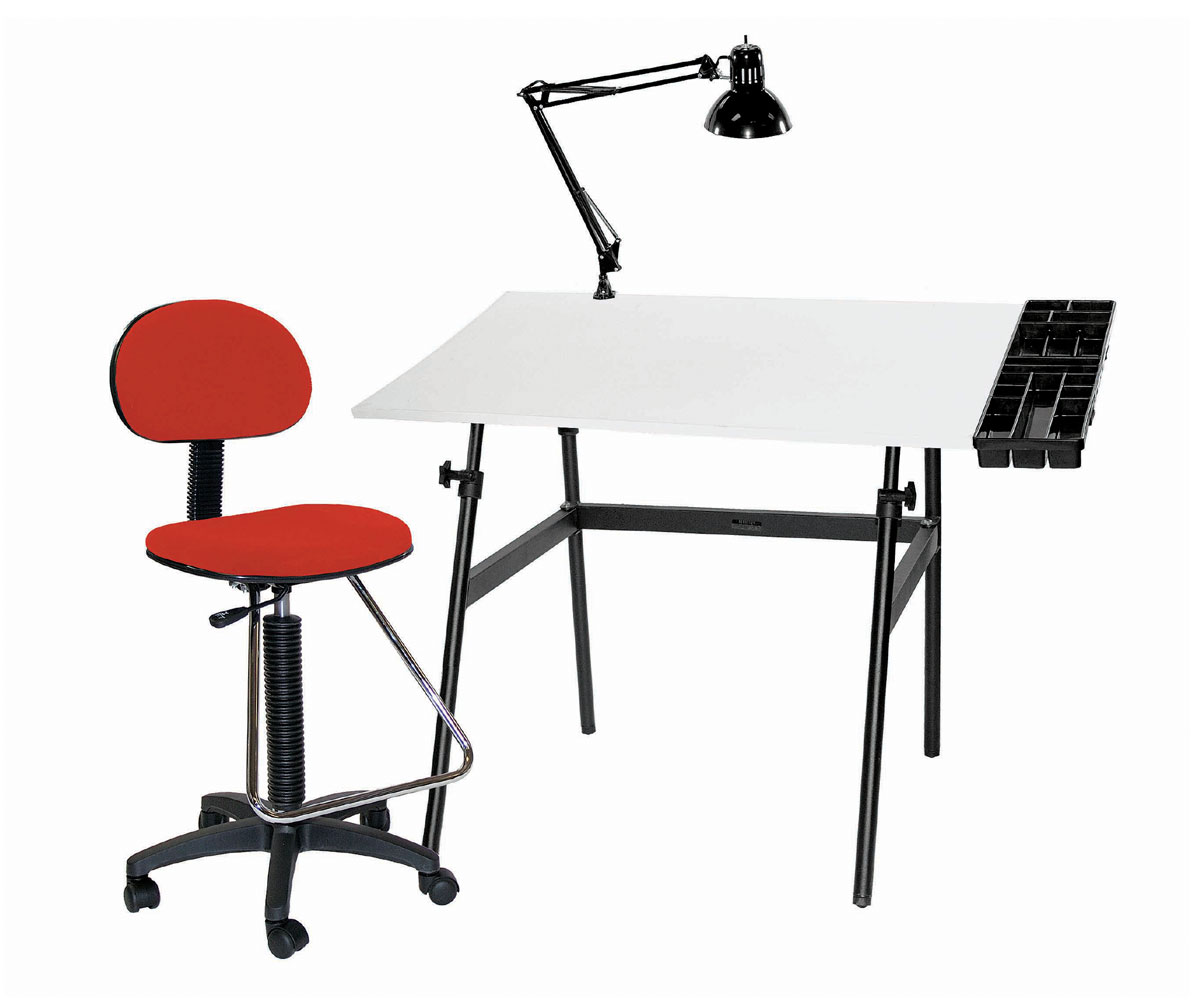 Offex Berkeley 4-pc Combo Black base w/ White Top Tray Lamp and Drafting Ht. RED Chair 4-pc Combo
