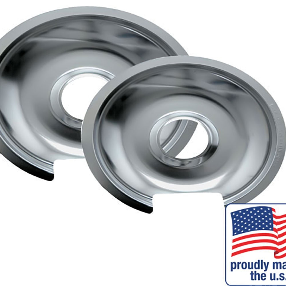 "Range Kleen Drip Pan Chrome 1 Small / 6"" And 1 Large / 8"", 2 Pack - 10562X"