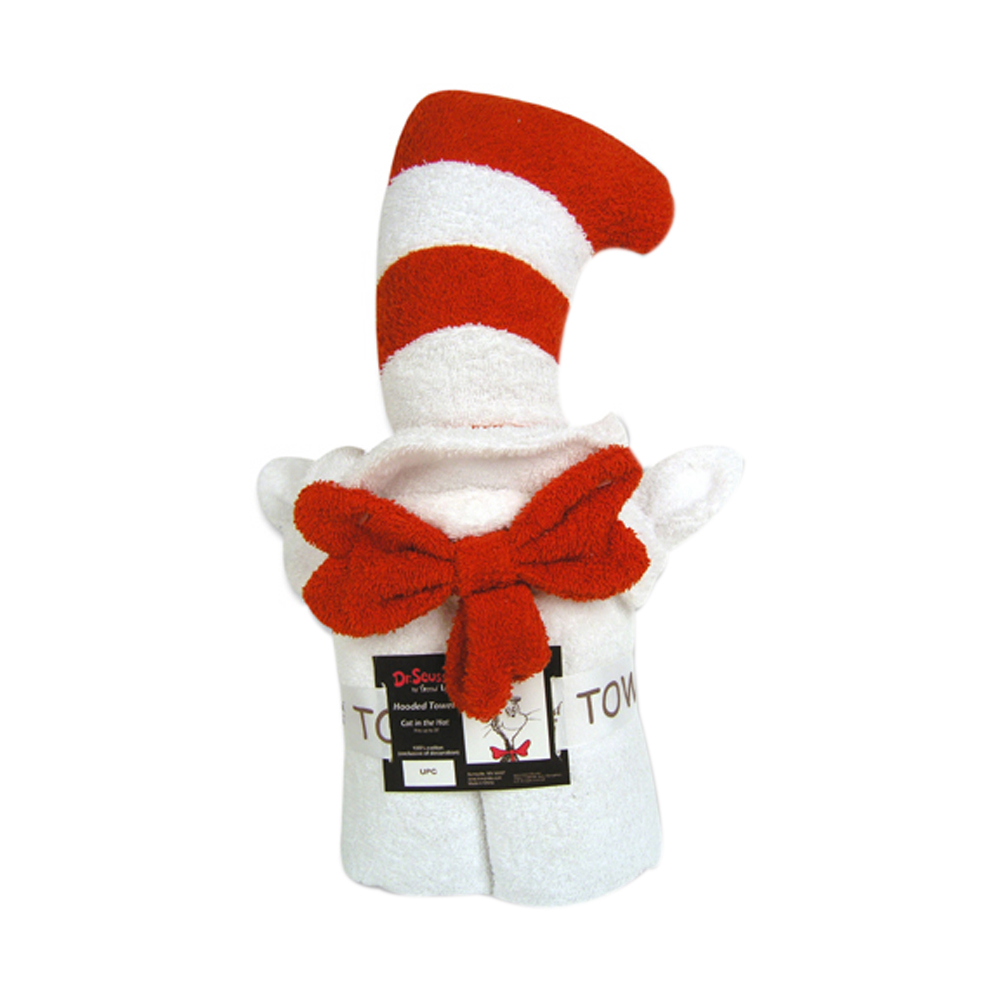 Trend Lab Baby Kids Infant Accessories Nursery Dr. Seuss Character Hooded Towel -Cat In The Hat