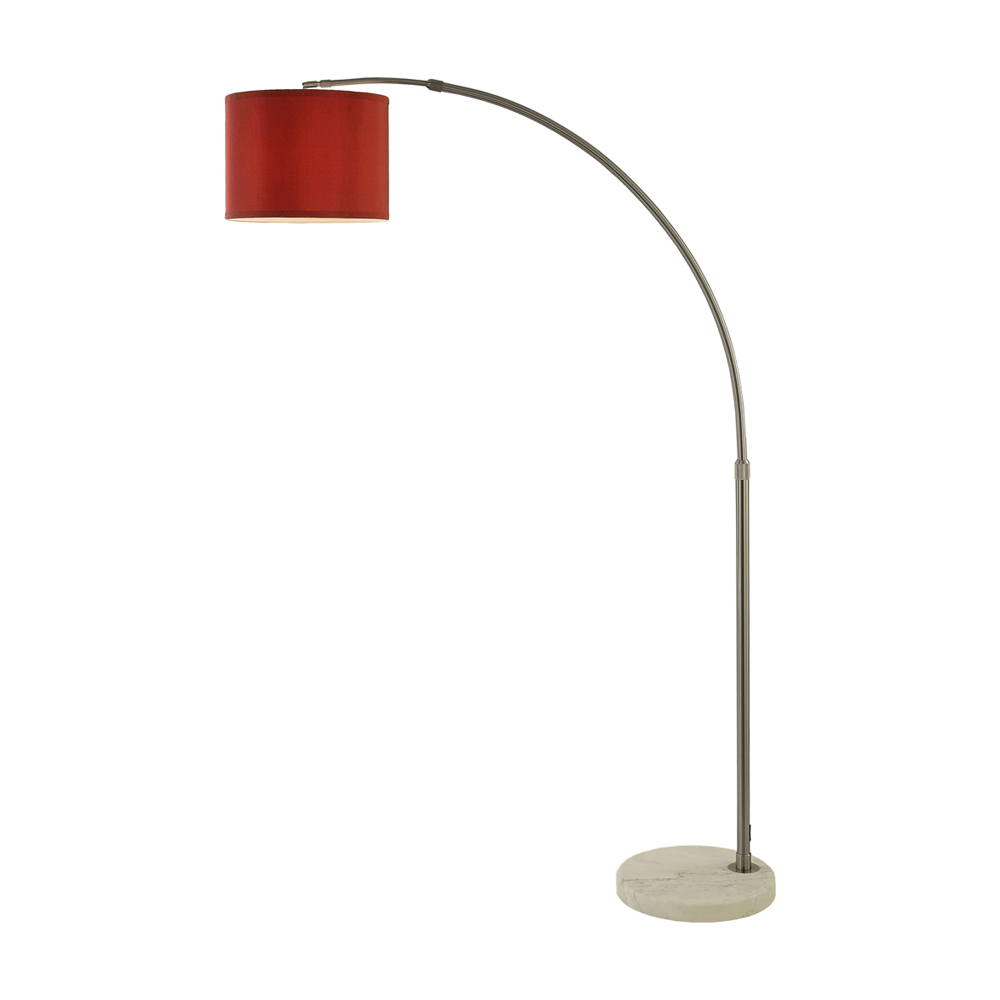 Trend Lighting Home Decorative Cafe Arc Floor Lamp Metal/Fabric/Marble Cranberry/ Brushed Nickel Finish/ White