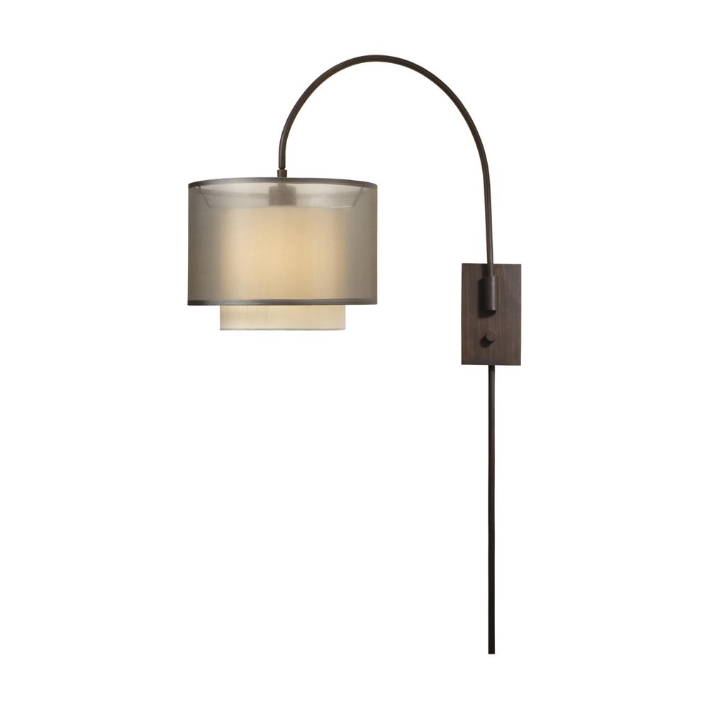 Trend Lighting Home Decorative Brella Arc Wall Lamp Metal/Fabric Sheer Smoke/ Antique Bronze Finish