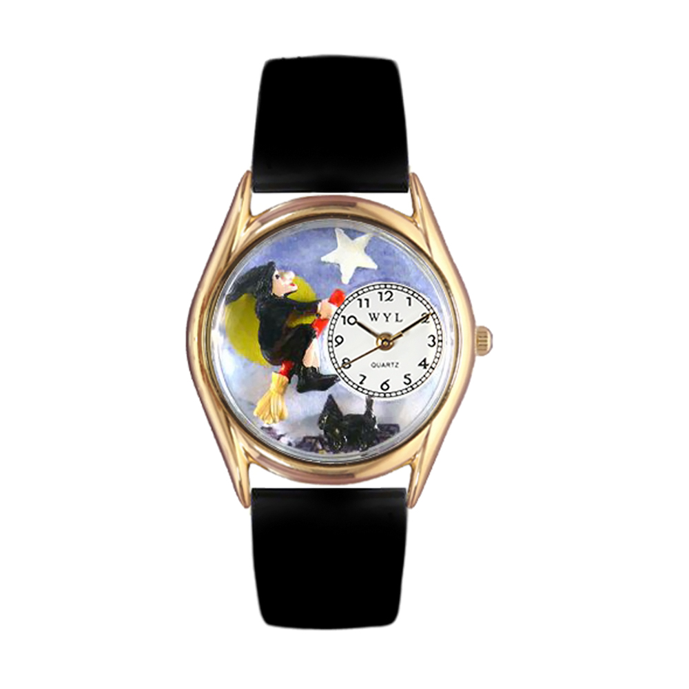 halloween-flying-witch-black-leather-and-goldtone-watch