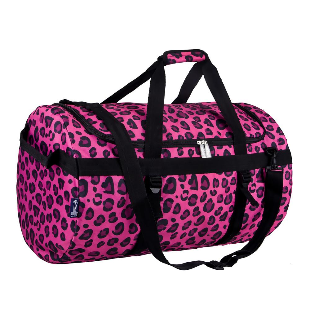 Wildkin Children Kids School Outdoor Camping Travel Accessories Pink Leopard Traveler Duffel Pink