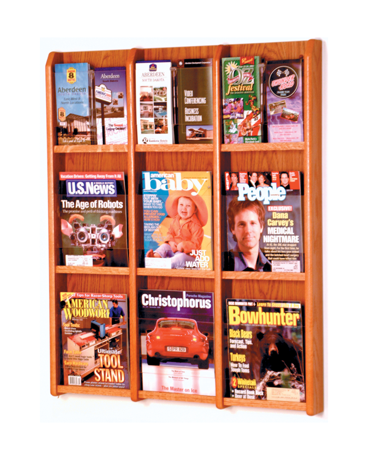 Offex Divulge 9 Magazine/18 Brochure Wall Display With Removable Inserts Medium Oak