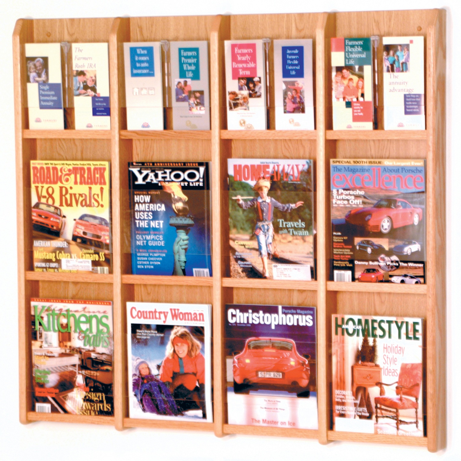 Offex Divulge 12 Magazine/24 Brochure Wall Display With Removable Inserts Light Oak