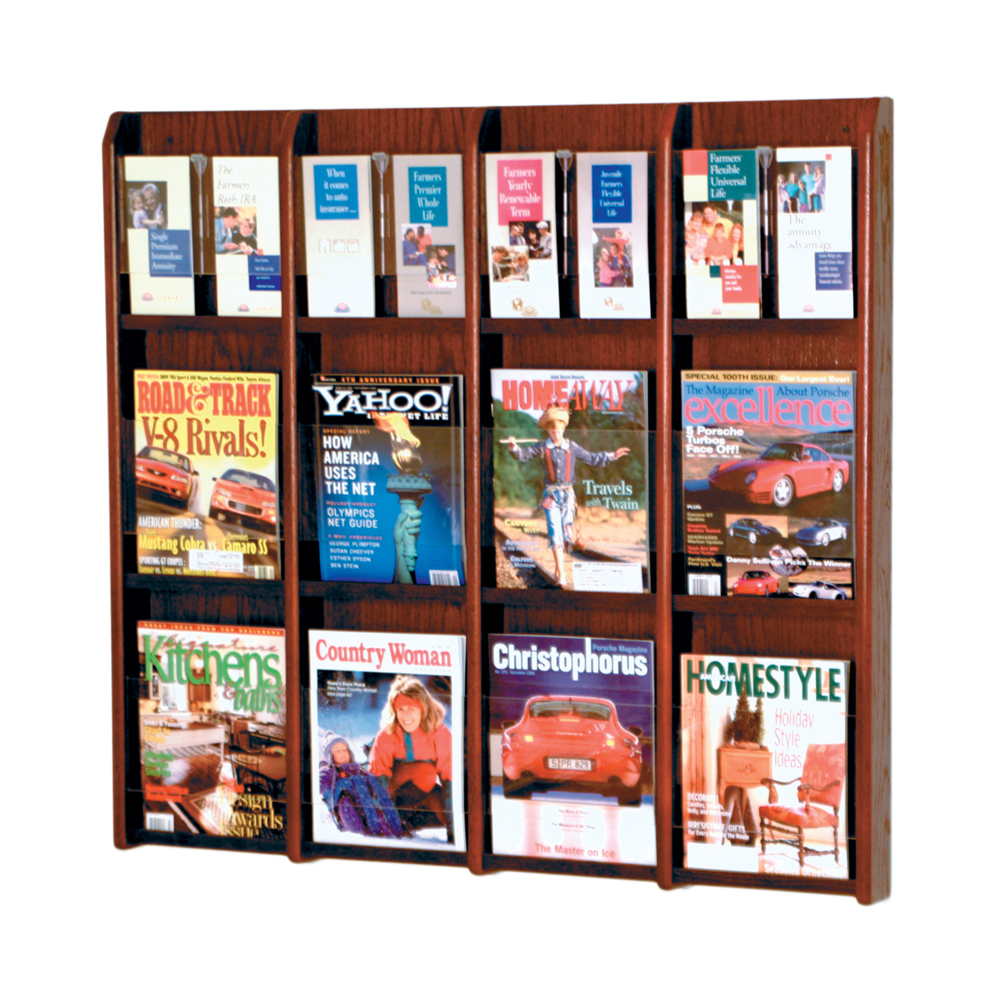 Offex Divulge 12 Magazine/24 Brochure Wall Display With Removable Inserts Medium Oak