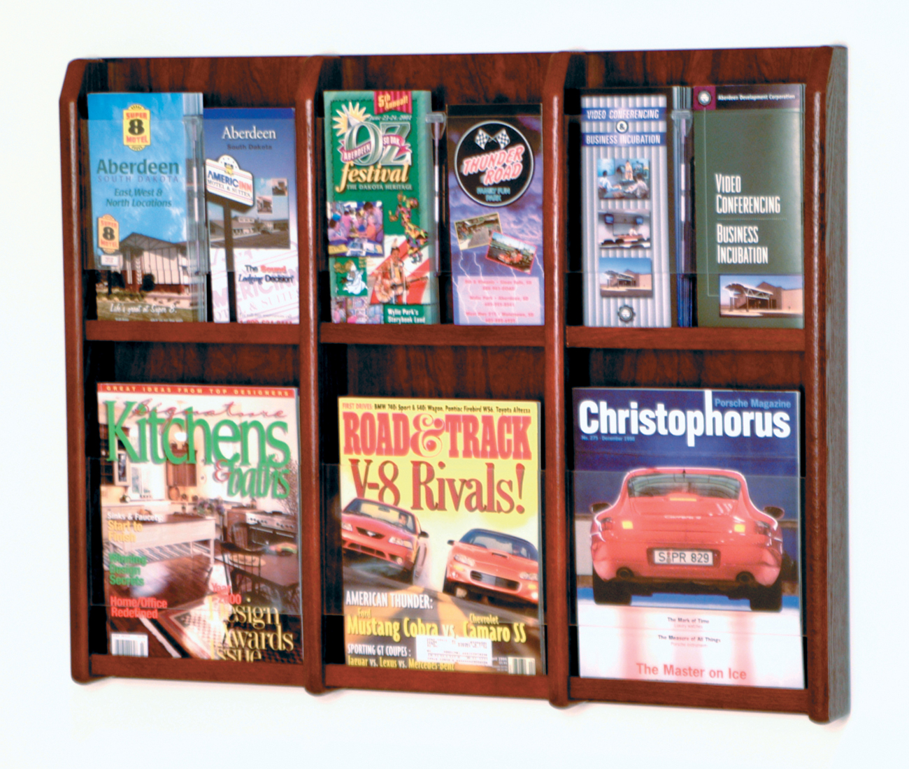 Offex Divulge 6 Magazine/12 Brochure Wall Display With Removable Inserts Mahogany