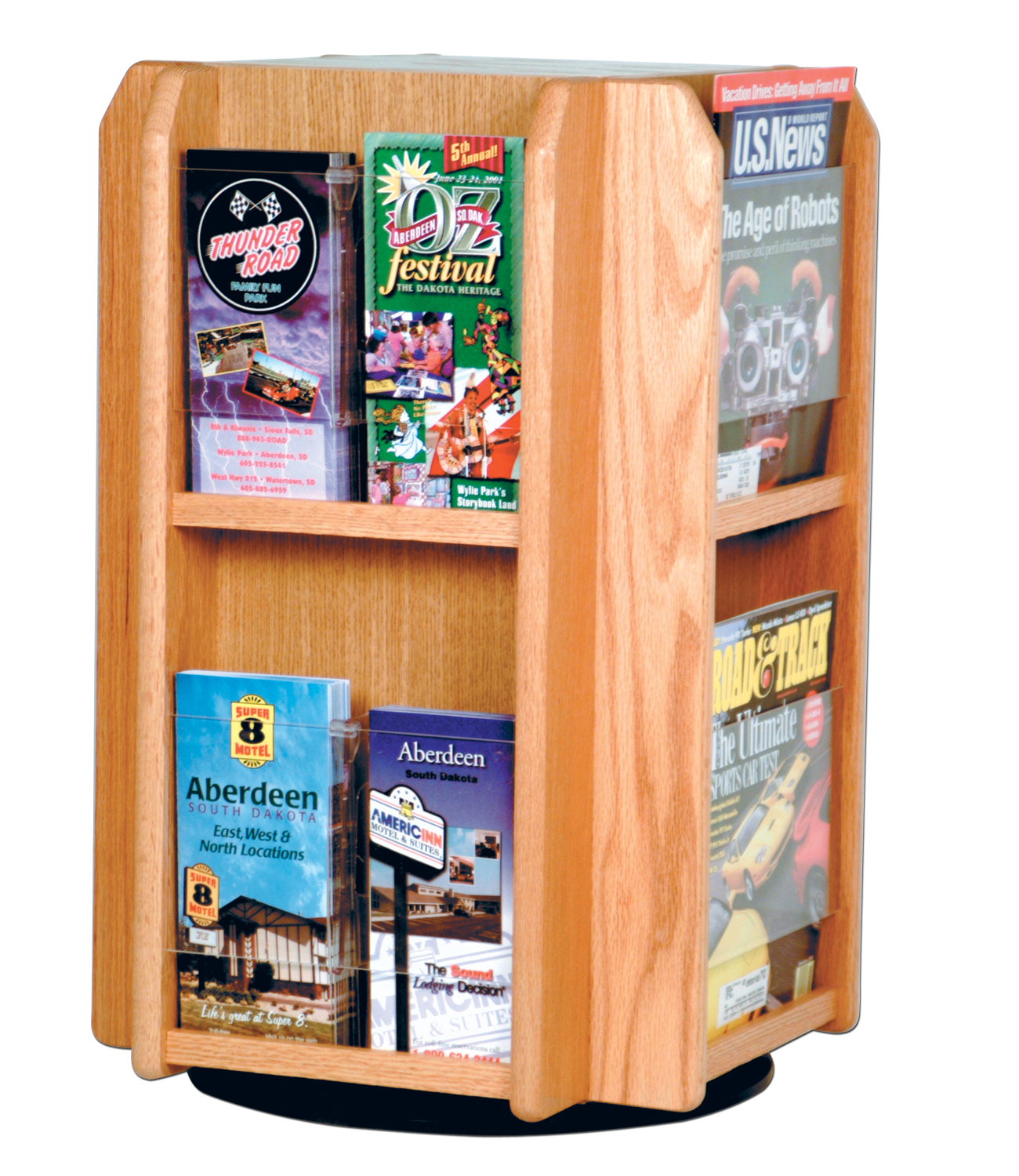 Offex Divulge 8 Magazine/16 Brochure Pockets Spinning Counter Display With Removable Inserts Light Oak
