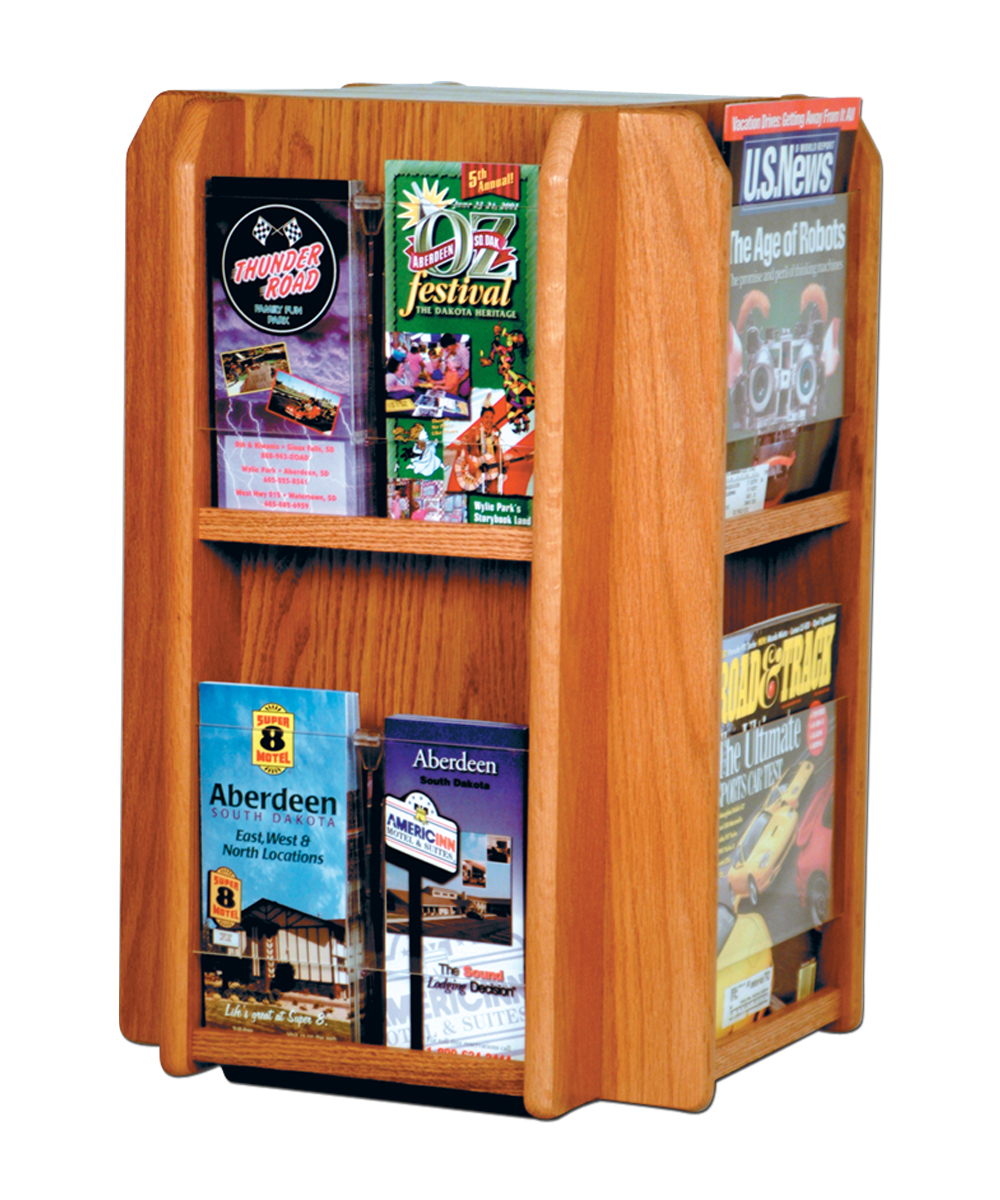 Offex Divulge 8 Magazine/16 Brochure Pockets Spinning Counter Display With Removable Inserts Medium Oak