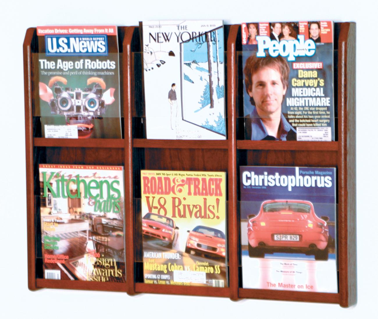 Offex Divulge 6 Magazine Wall Display Mahogany