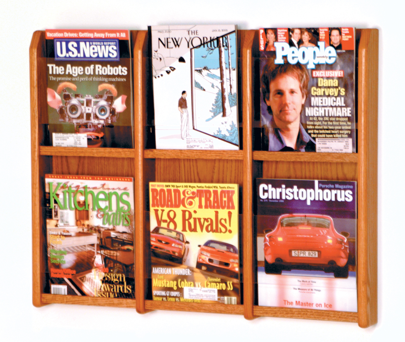 Offex Divulge 6 Magazine Wall Display Medium Oak