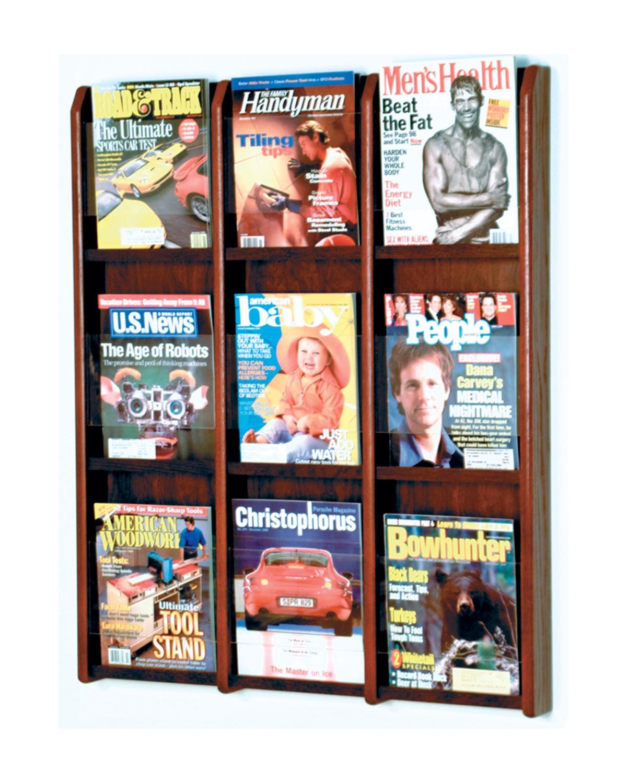 Offex Divulge 9 Magazine Wall Display Mahogany