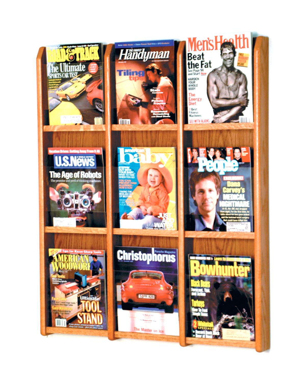 Offex Divulge 9 Magazine Wall Display Medium Oak