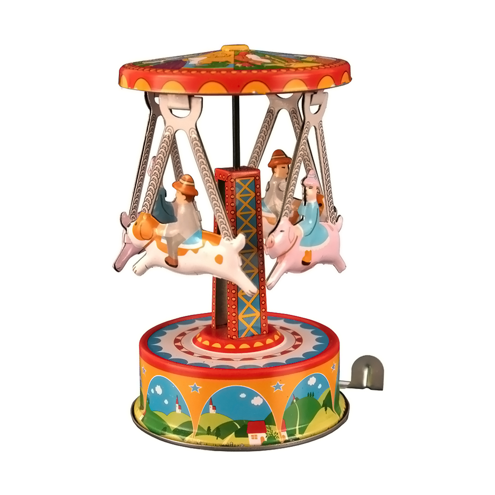 Collectible Tin Toy - Carousel with Dogs - 4.5