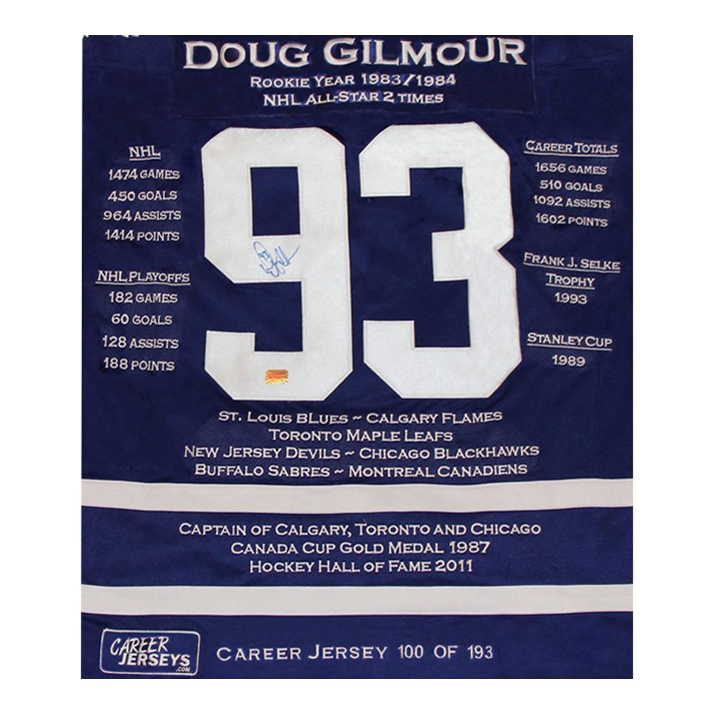 cb546c64f92 Doug Gilmour Framed Career Jersey - Signed - Ltd Ed 193 - Toronto Maple  Leafs