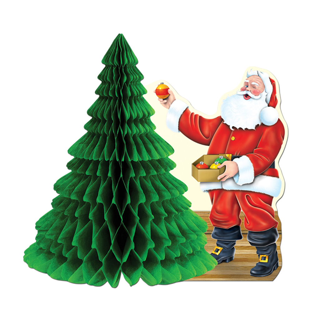 "Beistle Santa with Tissue Tree Centerpiece 11"" - 12 Pack (1/Pkg)"
