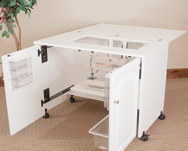 model 7500 space saver sewing cabinet pocket doors extra deep extra leg room electric lift. Black Bedroom Furniture Sets. Home Design Ideas