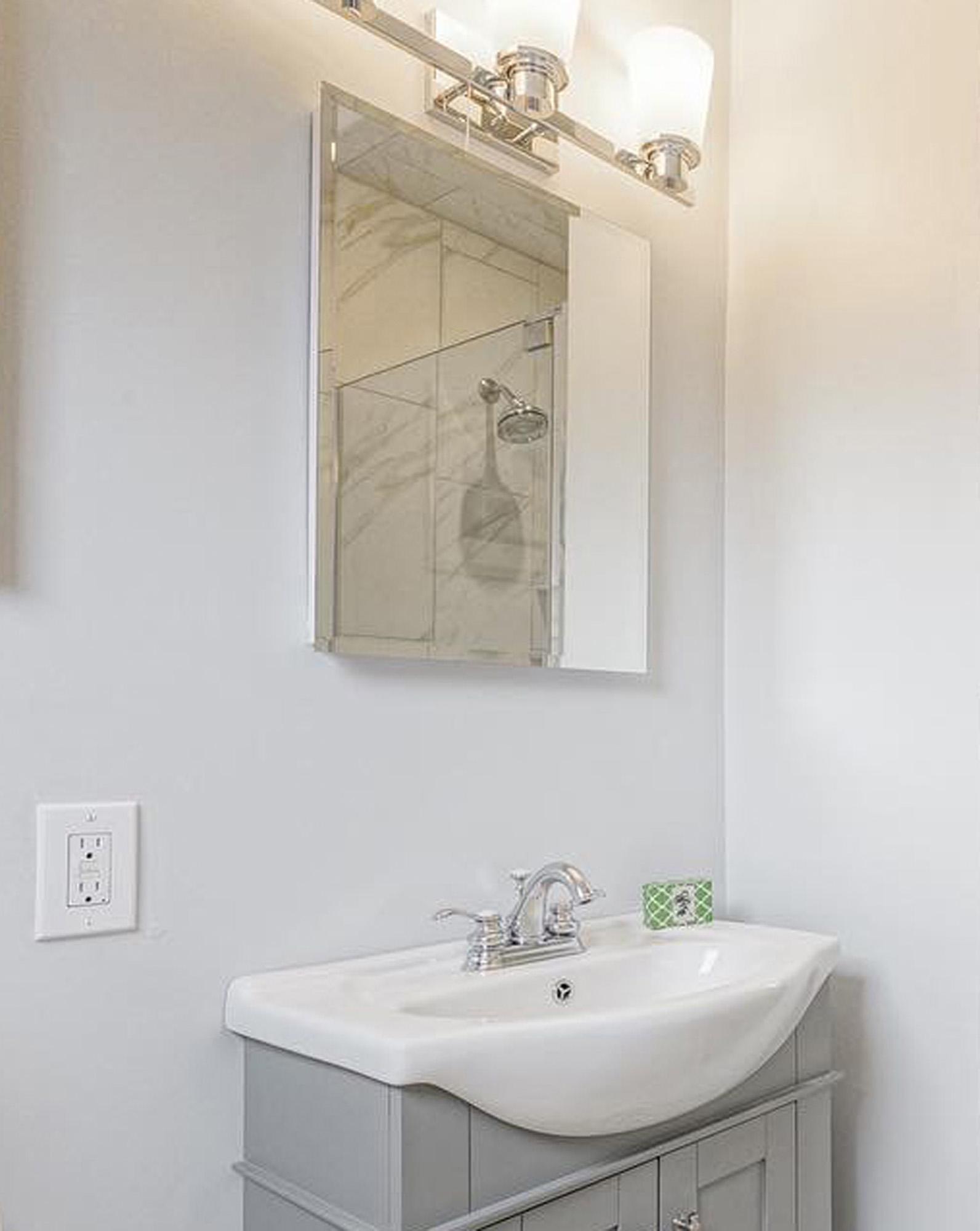 Beveled Edge Mirror 24x30 Decorative Floating Wall Shelf